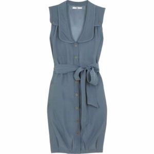MIKE & CHRIS Gray 100% Silk Easton Shirt Dress